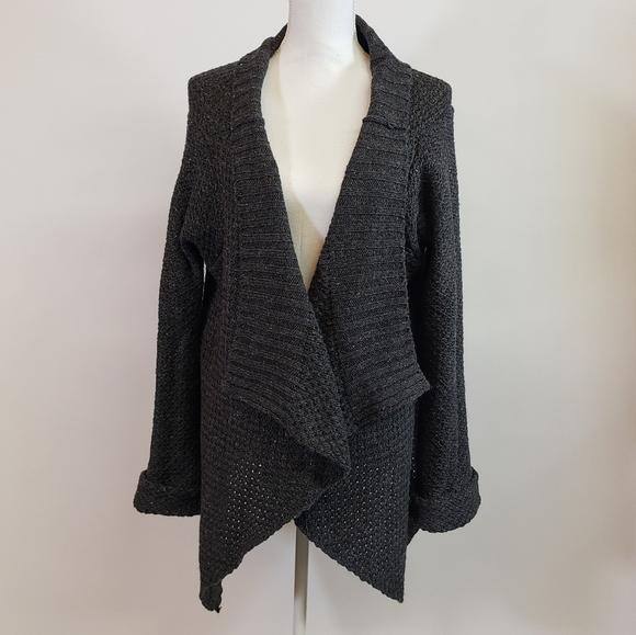 Sweaters - Oversized Dark Grey Wool Cardigan Sweater